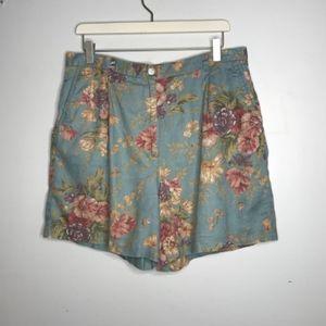 Vtg Ralph Lauren High Waist Floral Linen Shorts